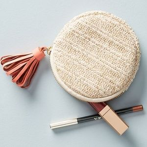 Anthropologie • Woven Tassel Circle Pouch